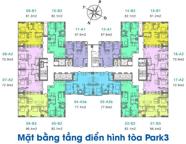 Mặt bằng tòa Park3 chung cư EuroWindow River Park