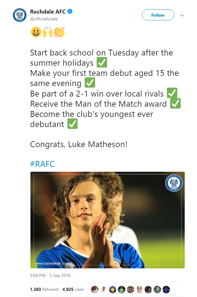 Luke Matheson returns from school to pick up Man of the Match award on Rochdale debut