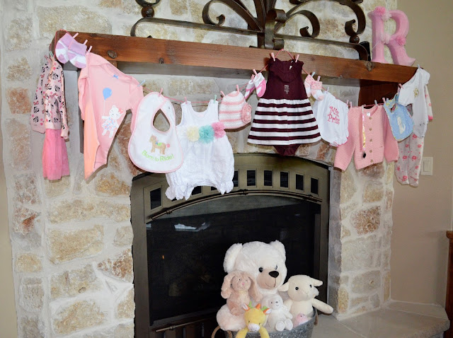 Baby shower clothesline.