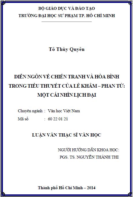 Diễn ngôn về chiến tranh và hòa bình trong tiểu thuyết của Lê Khâm – Phan Tứ Một cái nhìn lịch đại
