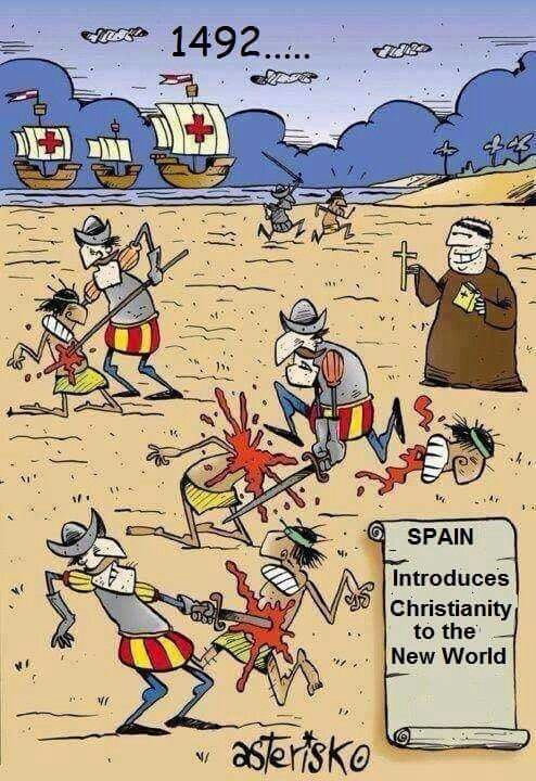 Funny Spain Introduces Christianity to the New World Cartoon Picture