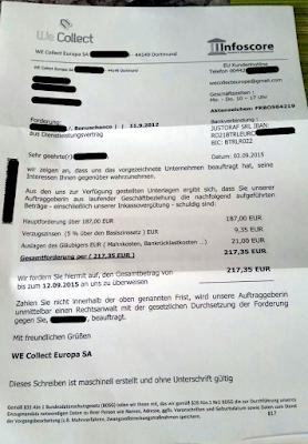WE Collect Europa SA   Forderung   03,09.2015