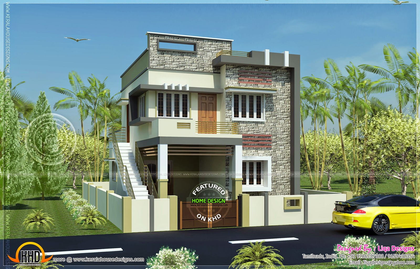Front Elevation Of 120 Sq Yards House : Sq ft bedroom modern tamil house design home