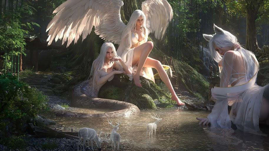 Angel, Fantasy, Girl, Creatures, 4K, #6.743