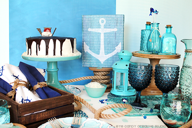 father's day dessert table, nautical, beach theme, anchor art, cold stone