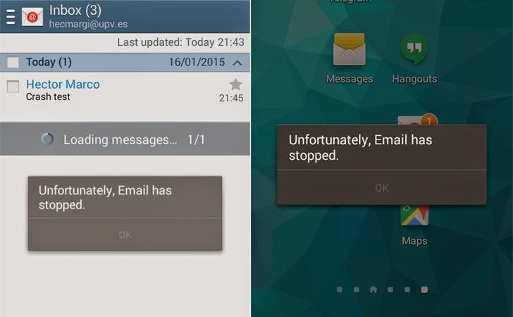 Crashing Google Email App for Android Just By Sending a Malicious Email