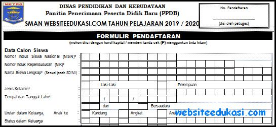 Contoh Formulir Pendaftaran Siswa Baru Tahun 2019/2020