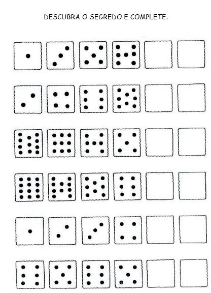 Atividades de sequência numérica, atividades de soma, atividades de subtração, atividades de adição com dominó, atividades de quantidades, atividades de raciocínio, pequenos desafios matemáticos.