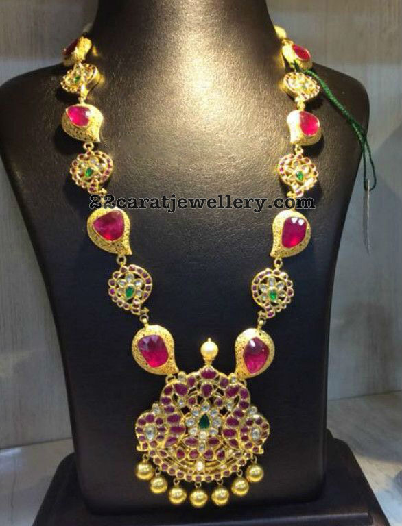 Ruby Mango Haram with Peacock Pendant