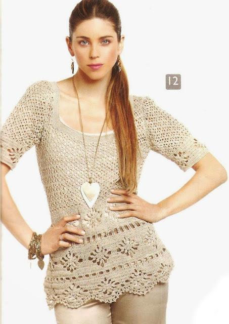 Patrón #1519: Blusa a Crochet