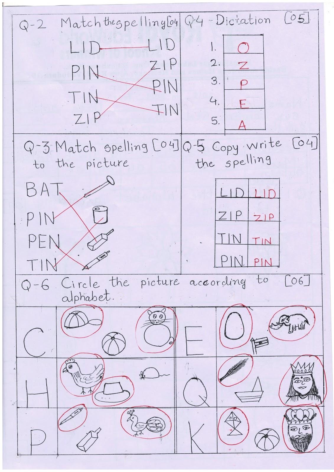 Nursery Unit Test Paper English