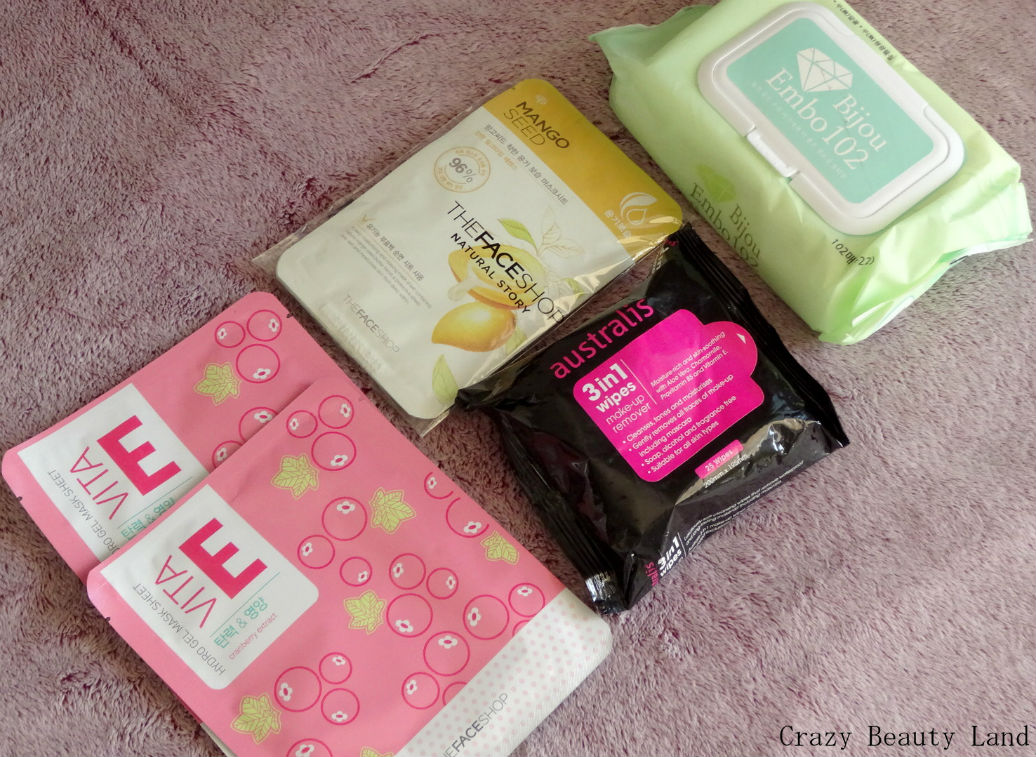 TheFaceShop Sheet Masks and Australis Wipes from Singapore