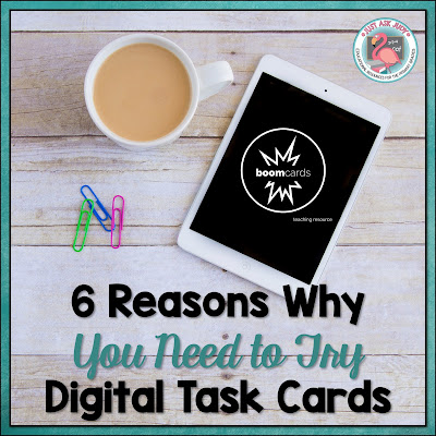 Check out this post about the advantages of using digital task cards in your classroom. Try the free school themed phonological awareness deck, perfect for kindergarten and first grade literacy!
