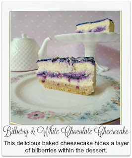 A rich, creamy & flavoursome baked cheesecake which contains a hidden layer of seasonal fruit.  The white chocolate mixture is layered up with a fresh bilberry mixture which brings a lovely colour contrast and extra flavour to this well loved dessert.