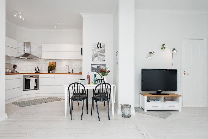 salon comedor cocina blanca