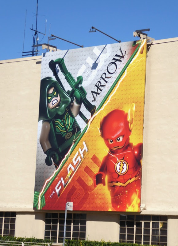 Arrow Flash Lego billboards Warner Bros Studios