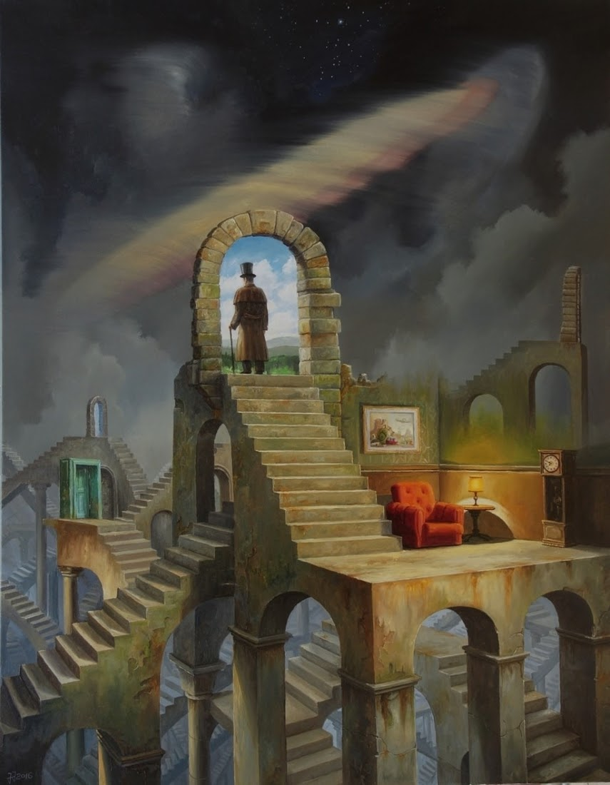 02-Labyrinth-Jarosław-Jaśnikowski-Paintings-of-Flying-Machines-and-Architectural-Surrealism-www-designstack-co