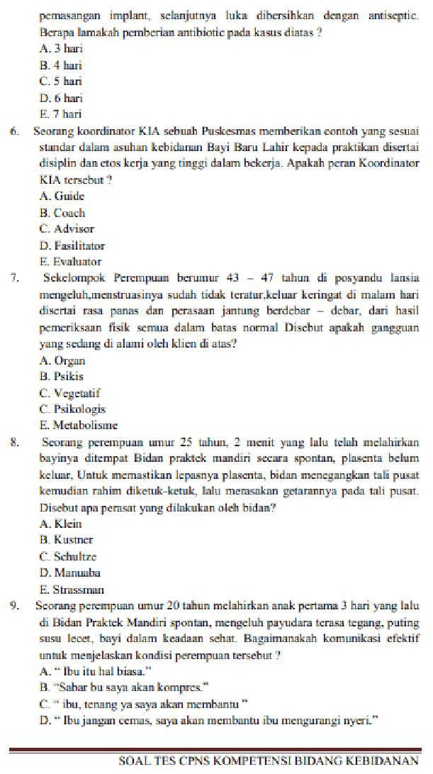 Contoh Soal Tes Tertulis Seleksi Cpns Atau Tenaga Non Pns Jabatan Bidan Kebidanan Info