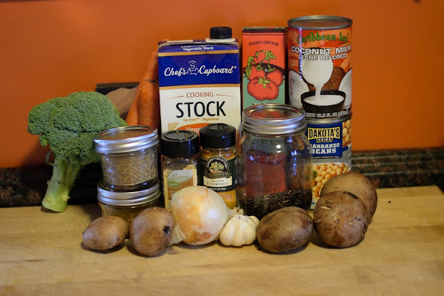 The ingredients needed to make the coconut chickpea and curry soup recipe.