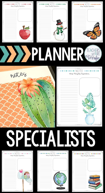 Are you looking for a teacher binder or planner? If you are like me and only teach ONE subject your needs are different! This product is designed for specialists that want a calendar specifically for a teacher of one subject! Provided in color combos of teal and purple or cacti/succulents. Includes editable covers and grade book. One page and 2-page calendars and lesson planning pages are fabulous choices. Notes and reflection pages are provided in two formats. Black/white choices are included!