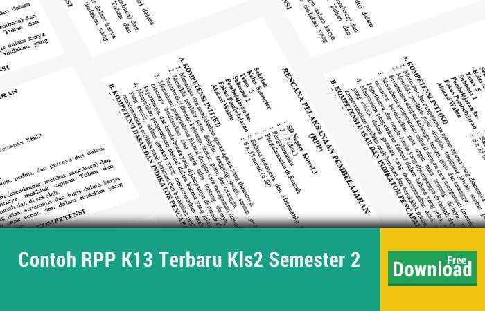 Contoh RPP K13 Terbaru Kls2 Semester 2