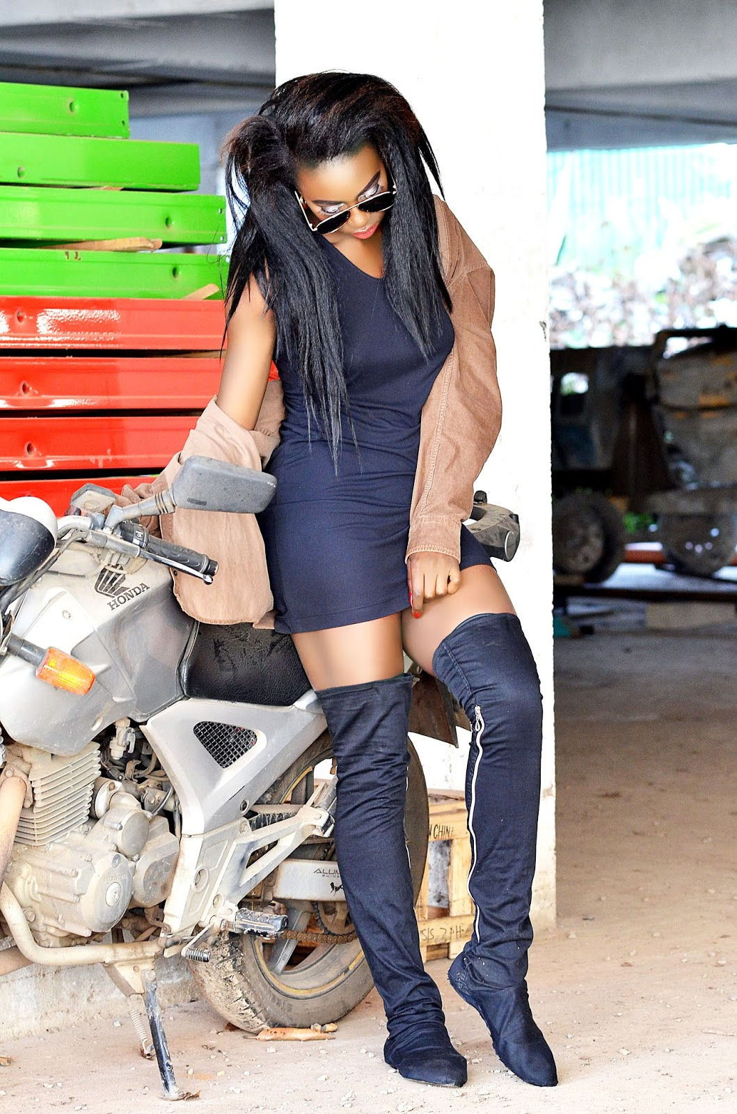 lbd and thigh high outfit, how to style thigh high boots, style with Ezil, Ezil, Kenyan fashion blogger.