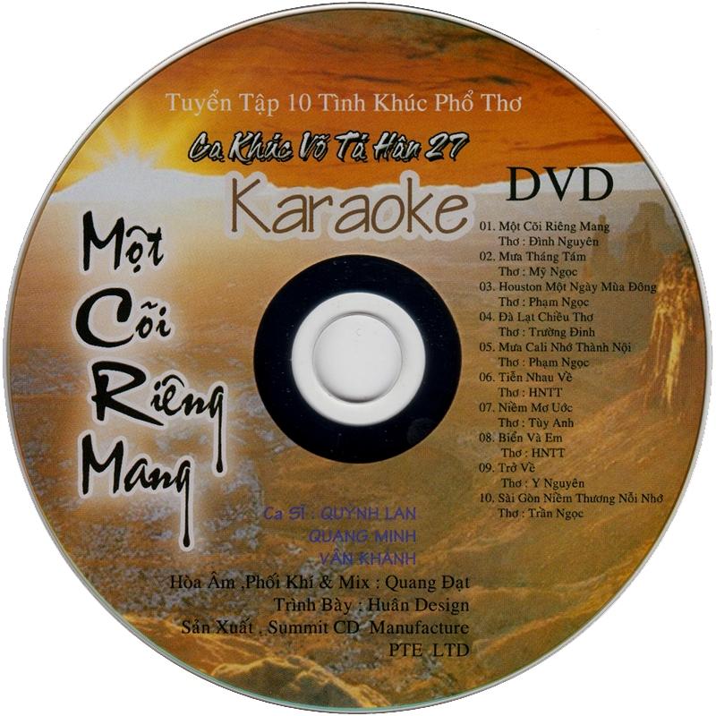 Eastern CD - Ca Khúc Võ Tá Hân 27 - Một Cõi Riêng Mang (NRG + DVD karaoke)