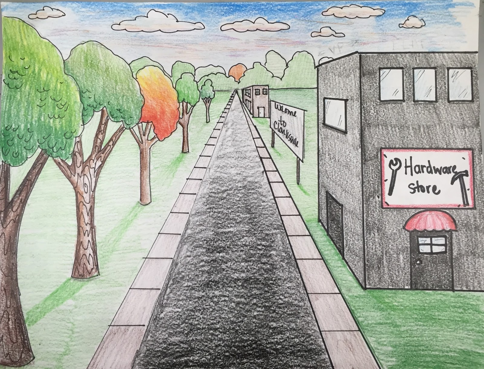 Point Art Element : Elements of the art room th grade one point perspective
