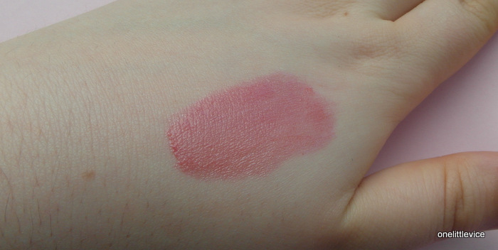 hand swatch of pink lip gloss stain Romy