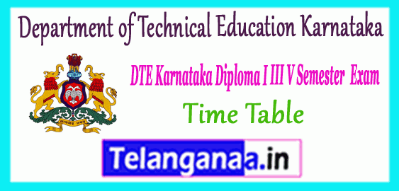 Karnataka Diploma 1st 3rd 5th Semester Time Table