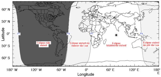 mapa de visibilidade do eclipse de setembro de 2016