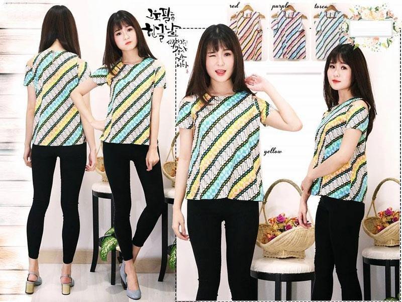 Jual Baju Batik Blouse Batik Shiny - 13497