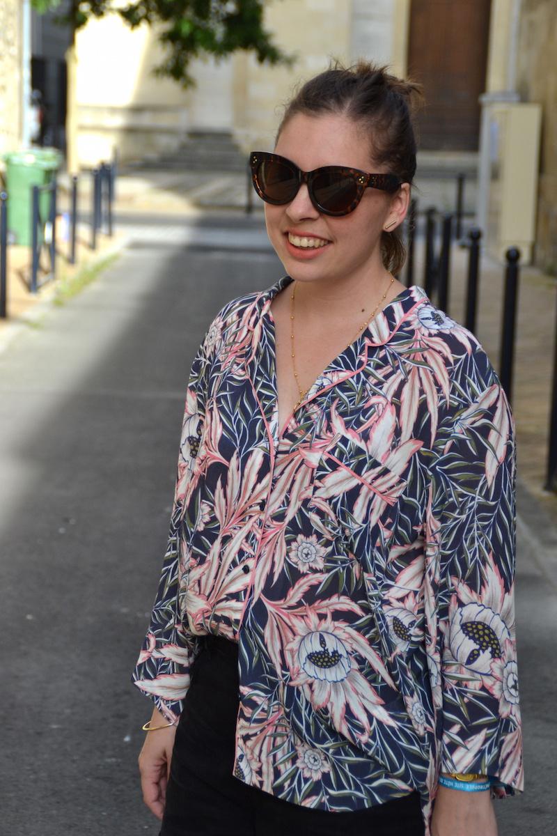 lunette de soleil Aliexpress,chemise tropical H&M, short en jean noir Pimkie