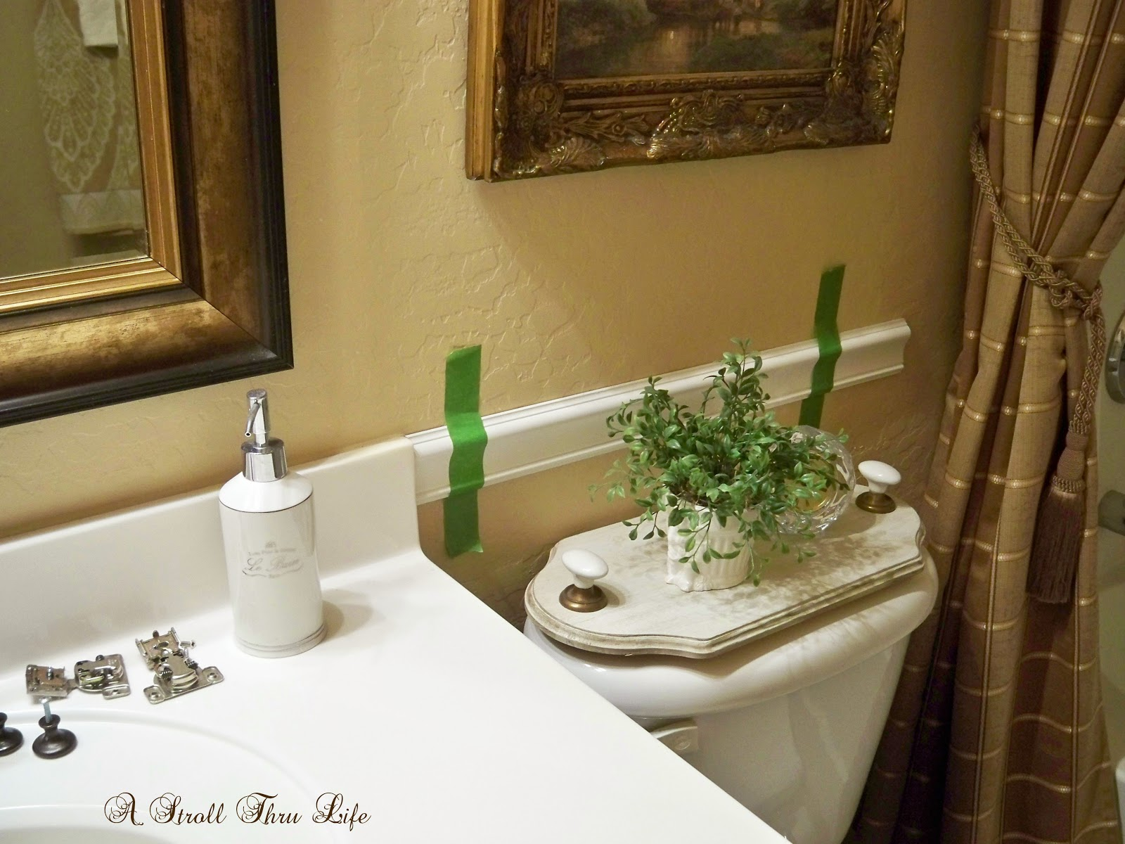 chair rail bathroom. A Stroll Thru Life: Hall Bathroom Makeover Update - Chair Rail \u0026 Moldings L