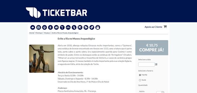 Ticketbar para ingressos para o Museu Arqueológico em Florença