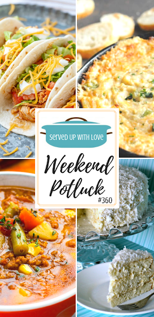 Weekend Potluck featured recipes include One-Pot Savory Chicken & Rice, Instant Pot Hamburger Soup, Cajun Crab Dip, Southern-Style Coconut Cake, Crock Pot Chicken Tacos, and so much more.