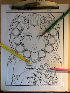 anime doodle girl mother's day coloring page
