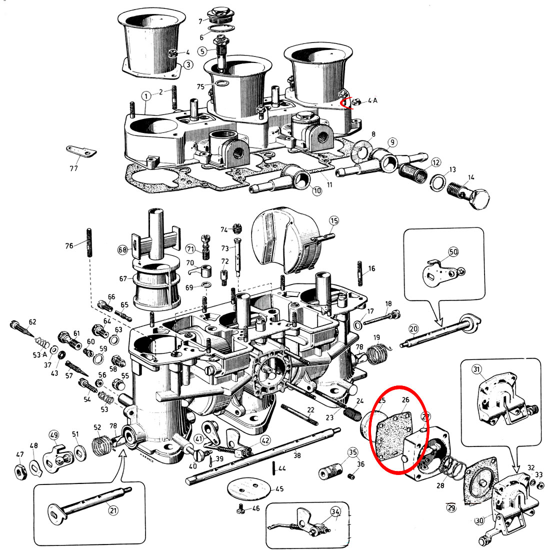 707 Seven 604 V6 Carburateur Weber 40 It1 102 Suite