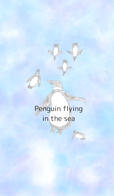 Penguin flying in the sea