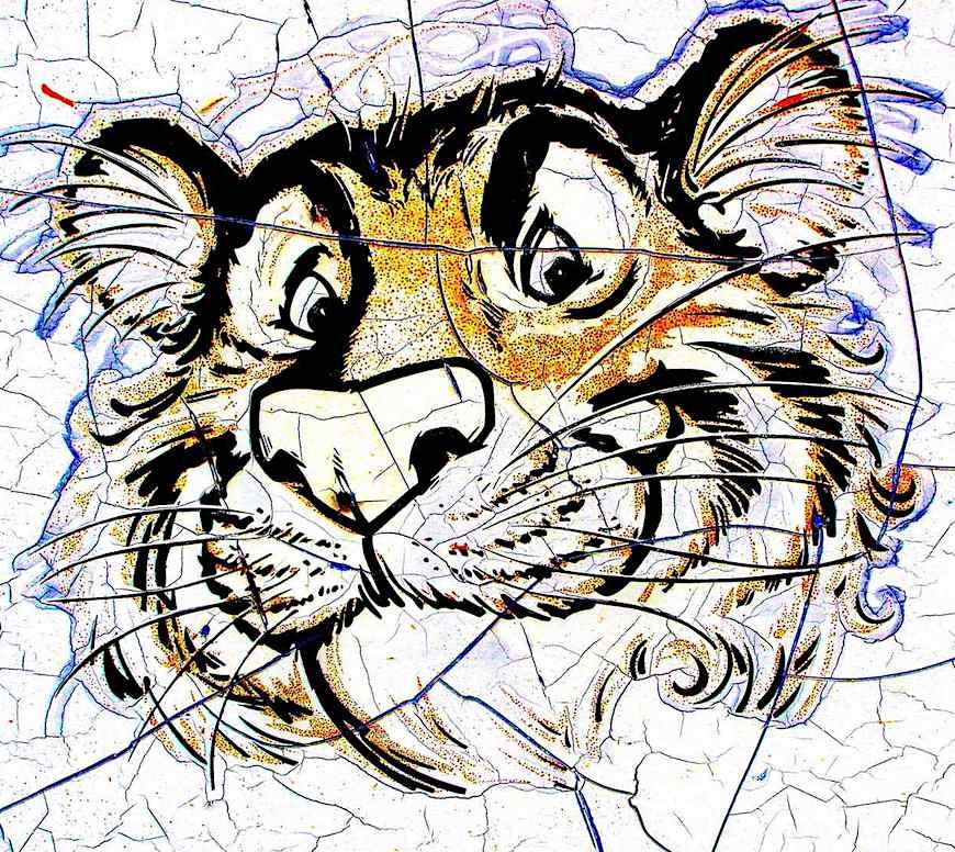 Somebody's photograph of a 1960s sun-damaged Esso gasoline Tiger by illustrator Bob Jones