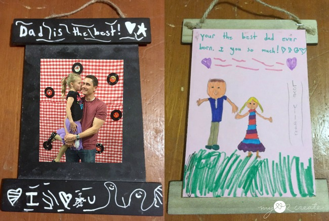 Daddy daughter gift from activity day girls, DIY Chalkboard Frames, MyLove2Create