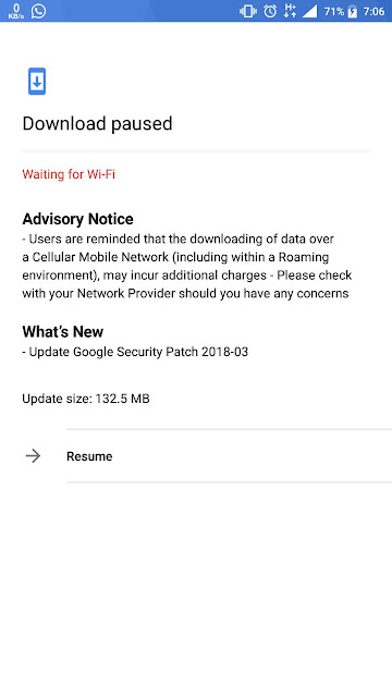 March Android Security update for Nokia 6
