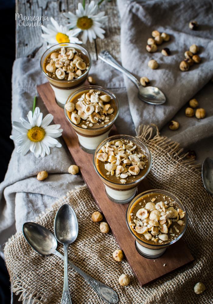 Panna cotta de coco y café con Nutella y avellanas