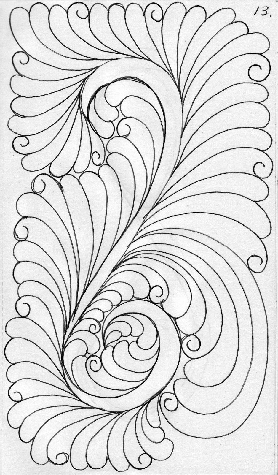 Luann Kessi My Quilting Sketch Book Feathers With A Tail