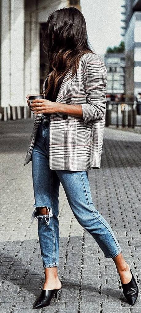 what to wear with a plaid blazer : top + ripped jeans + heels