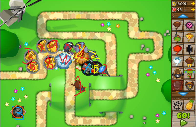 Bloons Solutions: Bloons Tower Defense 5, Monkey Lane, Hard, Guide 1
