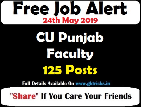 CU Punjab Faculty Recruitment 125 Posts Notification 2019 @cup edu