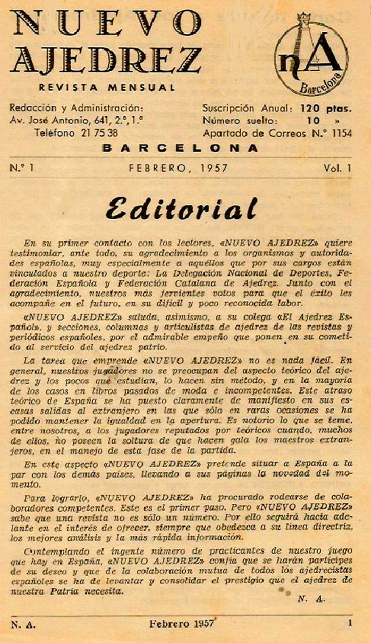 Primera página de la revista Nuevo Ajedrez
