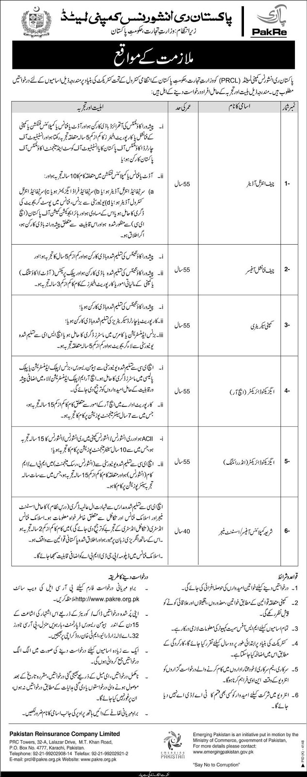 Advertisement for Pakistan Reinsurance Company Limited Jobs