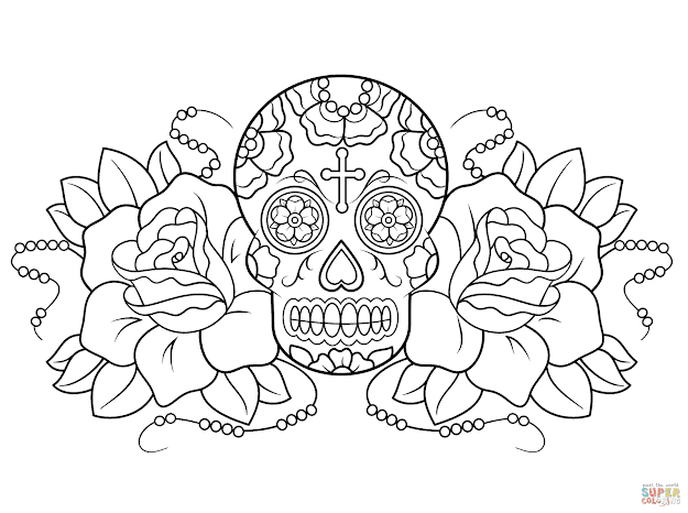 Click The Sugar Skull And Roses Coloring Pages To View Printable